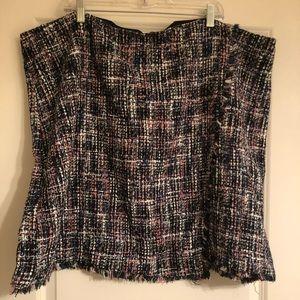 NWT Loft tweed mock wrap skirt w/ raw edge hem 24w